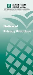 Notice of Privacy Practices - Baptist Health South Florida