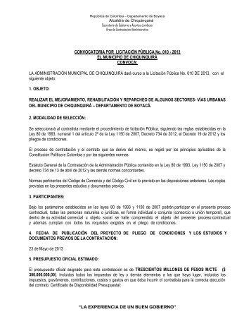 CONVOCATORIA POR LICITACIÓN PÚBLICA No. 010 - Chiquinquirá