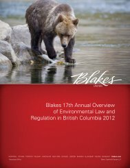 Environmental Law and Regulation in British Columbia 2012