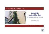 Sterbehilfe aus ärztlicher Sicht - Ärztekammer Berlin