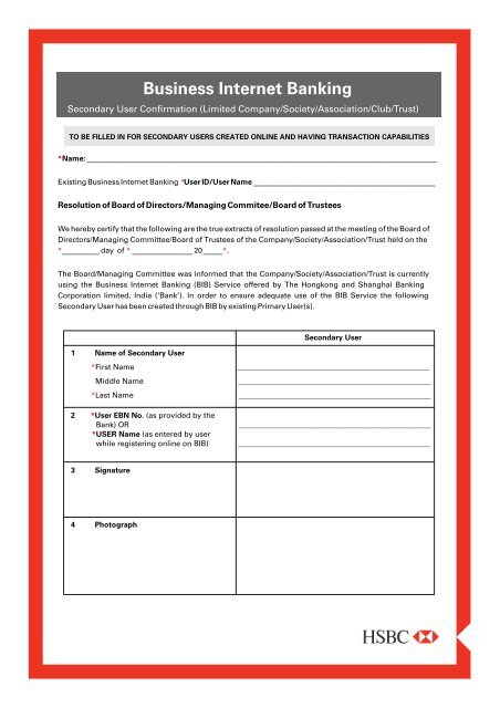 Business Internet Banking Secondary User Form (Limited