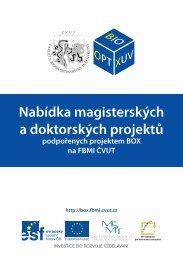 Nabídka magisterských a doktorských projektů podpořených - FBMI