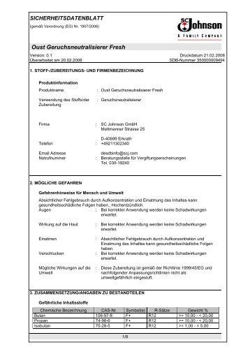 Oust Geruchsneutralisierer Fresh - SC Johnson Product Information