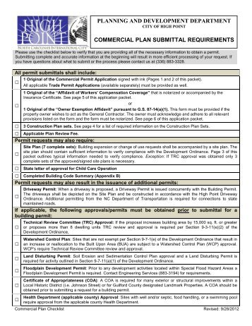 Commercial Permit Application - City of High Point