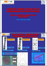 MASTER THESIS PROJECTS IN CONDENSED MATTER PHYSICS