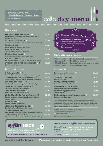 Brand New Lunch Menu 2013 - White Hart Hotel