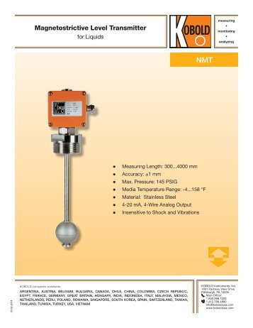 Magnetostrictive Level Meters N2 - Kobold Messring GmbH