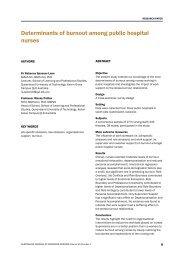 Determinants of burnout among public hospital nurses - Australian ...