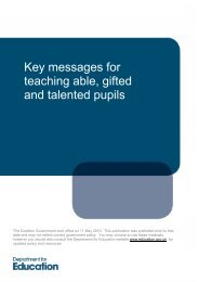 Key messages for teaching able, gifted and talented pupils