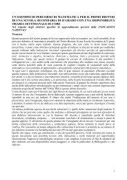 UN ESEMPIO DI PERCORSO DI MATEMATICA PER IL PRIMO ...