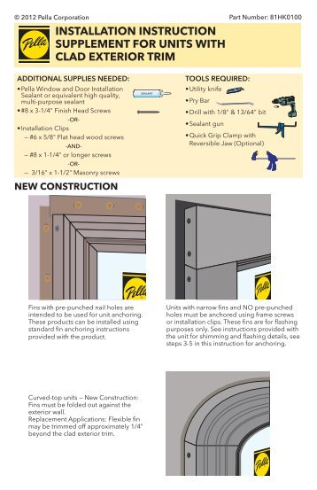 installation instruction supplement for units with clad ... - Pella.com