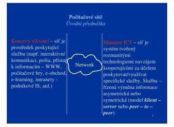 Počítačové sítě Úvodní přednáška Network Koncový ... - eAMOS