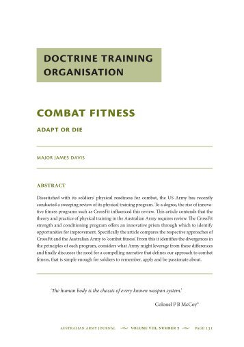 Combat Fitness: Adapt or Die - Australian Army