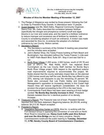 Minutes of the 11/12 ALVA meeting