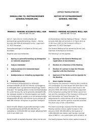 innkalling til ekstraordinær generalforsamling i maracc