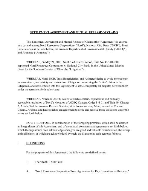SETTLEMENT AGREEMENT AND MUTUAL RELEASE OF CLAIMS