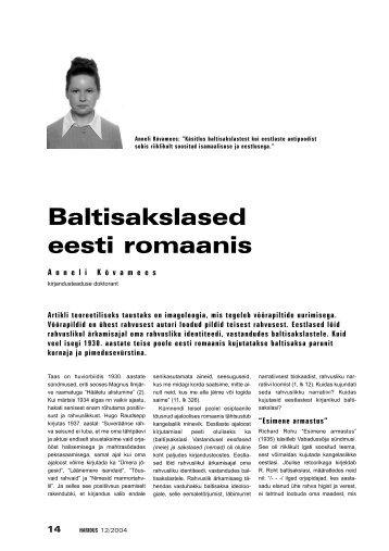 Baltisakslased eesti romaanis - Haridus