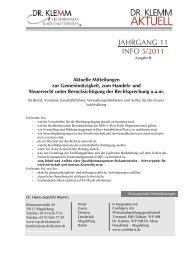 JAHRGANG 11 INFO 5/2011 - Dr. Klemm