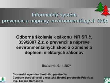 Informačný systém prevencie a nápravy ... - Enviroportal.sk