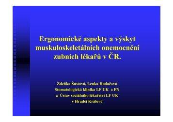 Ergonomické aspekty a výskyt muskuloskeletálních onemocnění ...