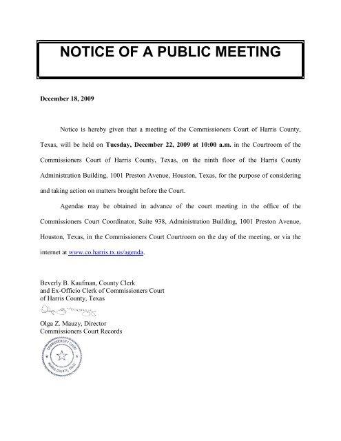 Notice Of A Public Meeting Harris