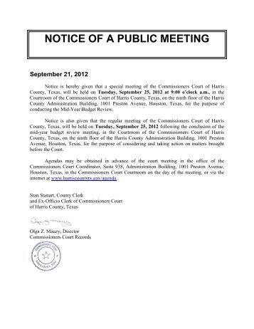 NOTICE OF A PUBLIC MEETING - Harris County's New Web Site!