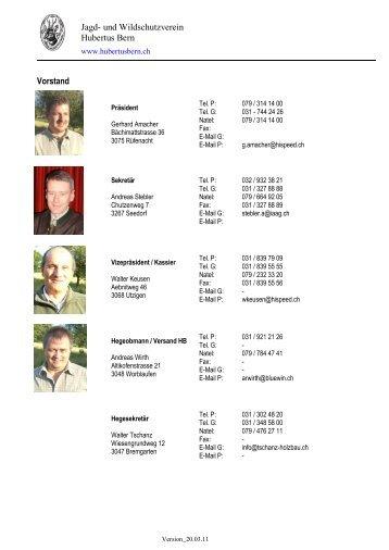 Jagd- und Wildschutzverein Hubertus Bern Vorstand