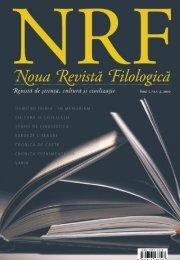 NOUA REVISTĂ FILOLOGICĂ Anul I, Nr.1–2, 2010 177 - Biblioteca ...
