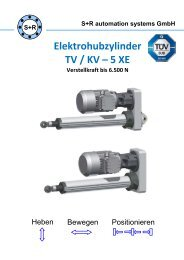 Elektrohubzylinder TV / KV 5 XE - S+R automation systems GmbH
