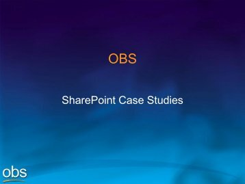 OBS SharePoint Case Studies