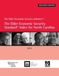 North Carolina Elder Index - Wider Opportunities for Women
