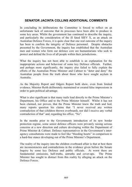Additional Comments Senator Collins Siev X