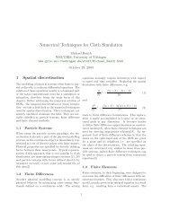 Numerical Techniques for Cloth Simulation - CiteSeer