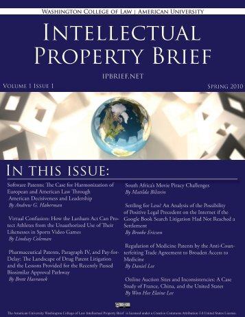Intellectual Property Brief - American University Washington College ...