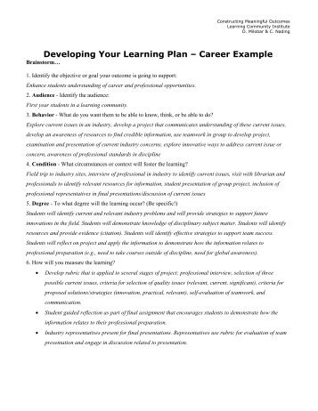 Developing Your Learning Plan Samples (pdf)
