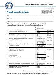 Fragebogen Ex-Schutz - S+R automation systems GmbH