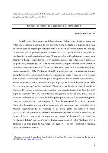 Laïcité et sectes en France.pdf - Centre d'histoire sociale du XXe ...