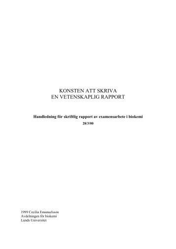 Konsten att skriva en vetenskaplig rapport - CMPS - Lunds universitet