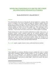 návrh multikriteriálnych metód pre výber relavantného dodávateľa ...