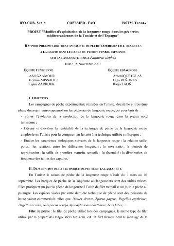 Rapport préliminaire des campagnes de pêche ... - Fao - Copemed