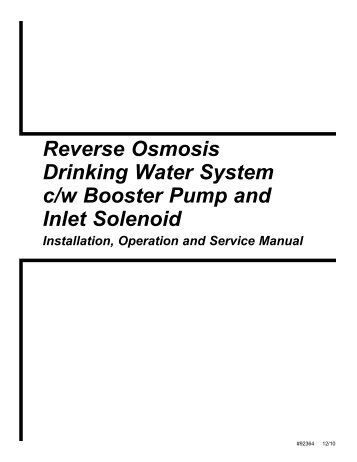 Reverse Osmosis Drinking Water System c/w Booster ... - Watergroup