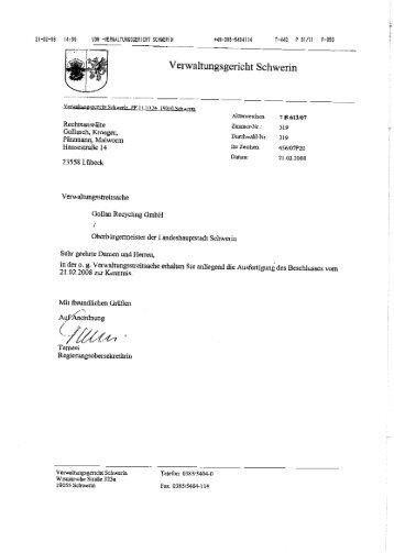 Verwaltungsgcricht Schwerin - Gollan Bau GmbH