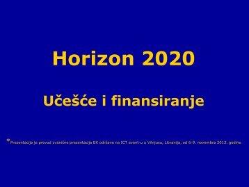 Osnovna pravila ucesca i finasiranja u Horizontu 2020