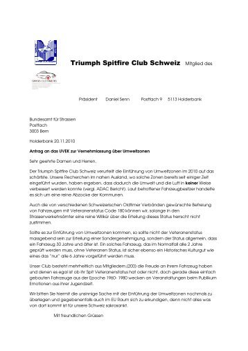 Triumph Spitfire Club Schweiz Mitglied des - O-iO