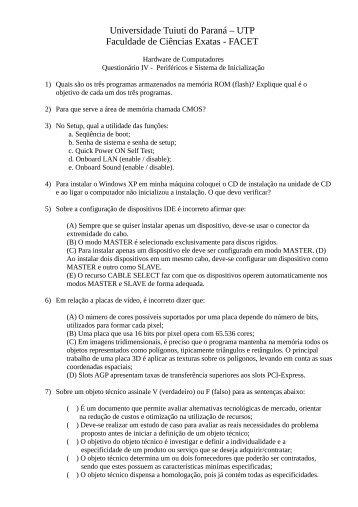 Questionario IV - Gerds - Universidade Tuiuti do Paraná