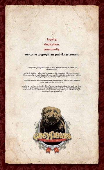 Menu - Grey Friars Pub & Restaurant