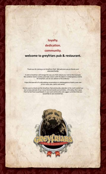 Menu - Grey Friars Pub & Restaurant