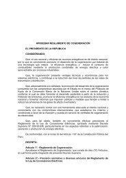 APRUEBAN REGLAMENTO DE COGENERACIÓN EL ... - Fonam