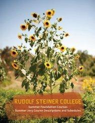 Summer 2013 Course Descriptions and Schedules - Rudolf Steiner ...