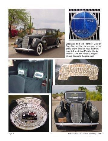 Clockwise from left - Arizona Classic Car Club